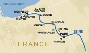 Seine River On Map Of Europe.Bateaux Mouches Seine River Paris France